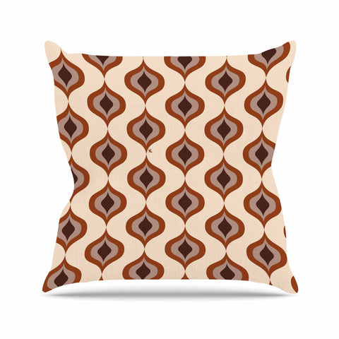 "NL designs ""Retro Pattern Orange"" Tan Brown Pattern Vintage Digital Vector Outdoor Throw Pillow"