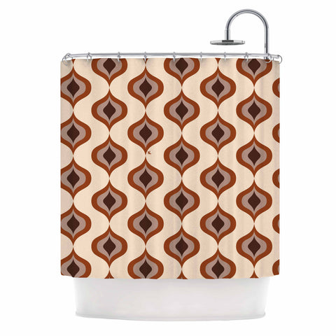 "NL designs ""Retro Pattern Orange"" Tan Brown Pattern Vintage Digital Vector Shower Curtain"