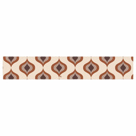 "NL designs ""Retro Pattern Orange"" Tan Brown Pattern Vintage Digital Vector Table Runner"