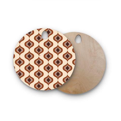 "NL designs ""Retro Pattern Orange"" Tan Brown Pattern Vintage Digital Vector Round Wooden Cutting Board"