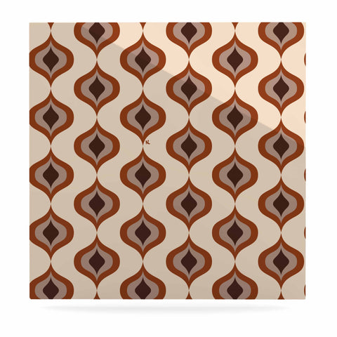"NL designs ""Retro Pattern Orange"" Tan Brown Pattern Vintage Digital Vector Luxe Square Panel"
