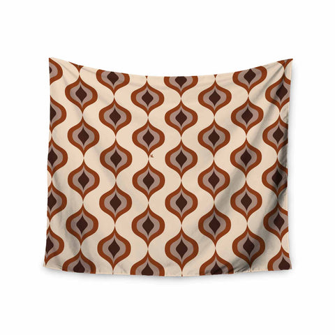 "NL designs ""Retro Pattern Orange"" Tan Brown Pattern Vintage Digital Vector Wall Tapestry"