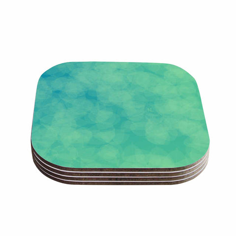 "NL designs ""Blue Yellow Green Bokeh"" Blue Teal Bokeh Abstract Digital Vector Coasters (Set of 4)"