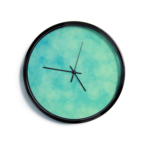 "NL designs ""Blue Yellow Green Bokeh"" Blue Teal Bokeh Abstract Digital Vector Modern Wall Clock"