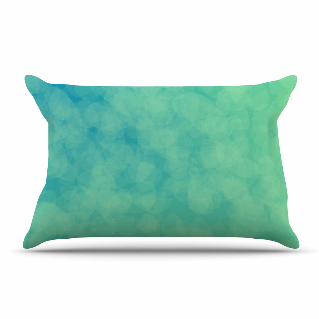 "NL designs ""Blue Yellow Green Bokeh"" Blue Teal Bokeh Abstract Digital Vector Pillow Sham"