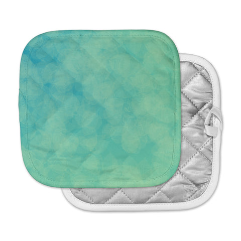 "NL designs ""Blue Yellow Green Bokeh"" Blue Teal Bokeh Abstract Digital Vector Pot Holder"