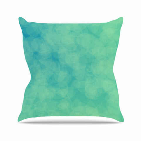 "NL designs ""Blue Yellow Green Bokeh"" Blue Teal Bokeh Abstract Digital Vector Outdoor Throw Pillow"