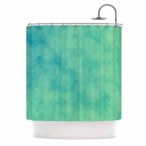 "NL designs ""Blue Yellow Green Bokeh"" Blue Teal Bokeh Abstract Digital Vector Shower Curtain"