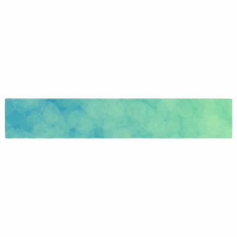 "NL designs ""Blue Yellow Green Bokeh"" Blue Teal Bokeh Abstract Digital Vector Table Runner"