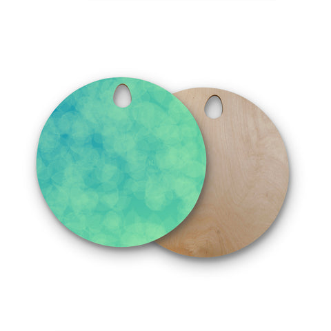 "NL designs ""Blue Yellow Green Bokeh"" Blue Teal Bokeh Abstract Digital Vector Round Wooden Cutting Board"