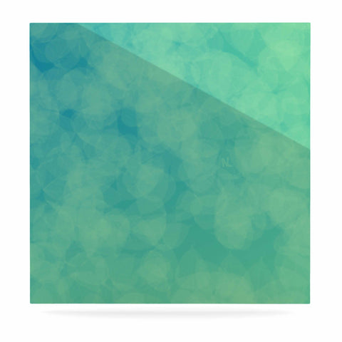 "NL designs ""Blue Yellow Green Bokeh"" Blue Teal Bokeh Abstract Digital Vector Luxe Square Panel"