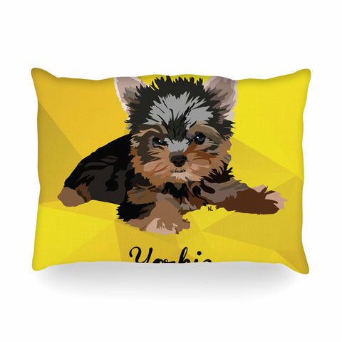 "NL Designs ""Yorkie"" Yellow Brown Animals Digital Illustration Oblong Pillow"