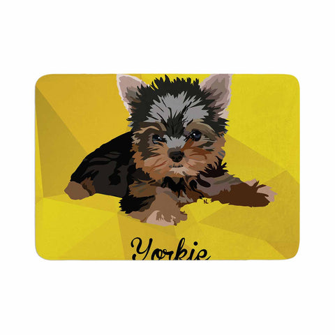 "NL Designs ""Yorkie"" Yellow Brown Animals Digital Illustration Memory Foam Bath Mat"