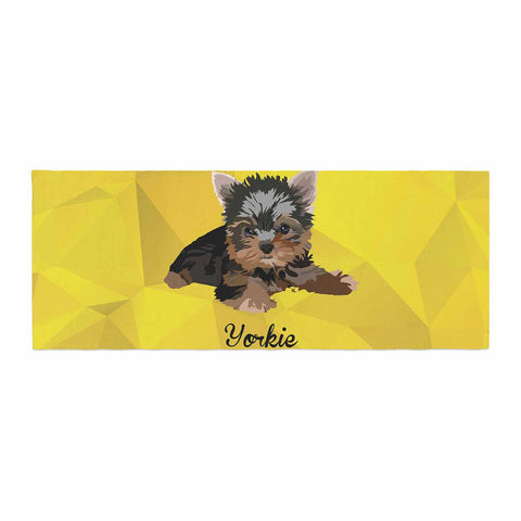 "NL Designs ""Yorkie"" Yellow Brown Animals Digital Illustration Bed Runner"