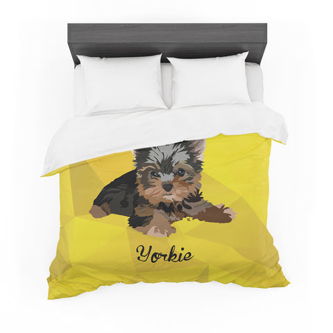 "NL Designs ""Yorkie"" Yellow Brown Animals Digital Illustration Featherweight Duvet Cover"