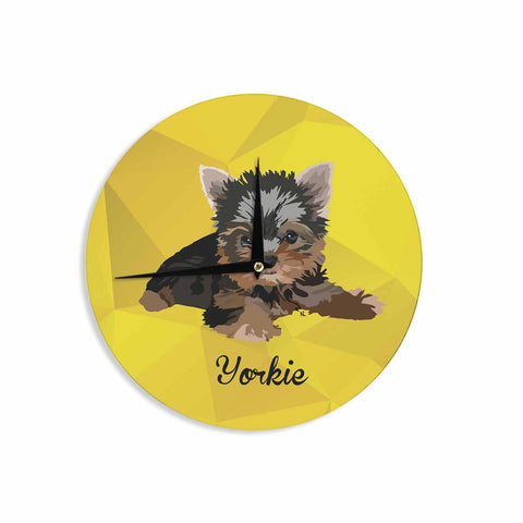"NL Designs ""Yorkie"" Yellow Brown Animals Digital Illustration Wall Clock"