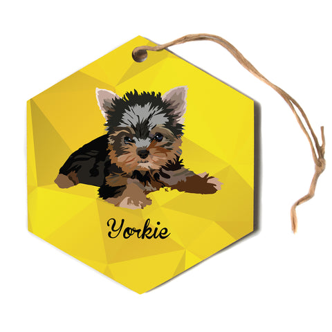"NL Designs ""Yorkie"" Yellow Brown Animals Digital Illustration Hexagon Holiday Ornament"