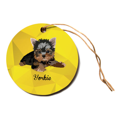 "NL Designs ""Yorkie"" Yellow Brown Animals Digital Illustration Circle Holiday Ornament"