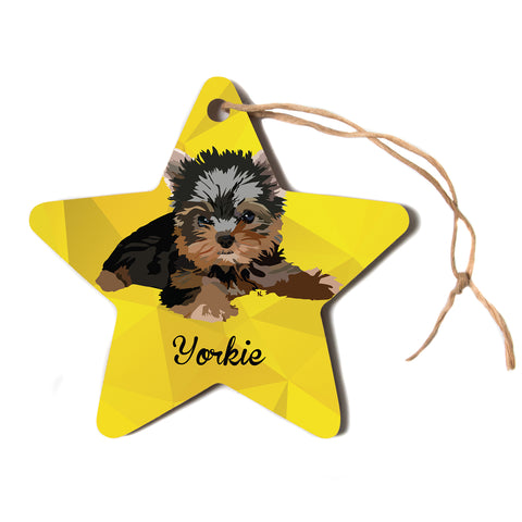 "NL Designs ""Yorkie"" Yellow Brown Animals Digital Illustration Star Holiday Ornament"