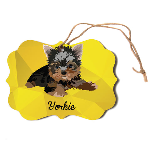 "NL Designs ""Yorkie"" Yellow Brown Animals Digital Illustration Scroll Holiday Ornament"