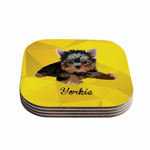 "NL Designs ""Yorkie"" Yellow Brown Animals Digital Illustration Coasters (Set of 4)"