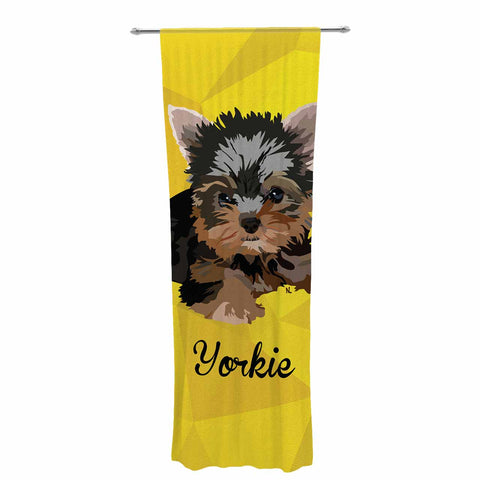 "NL Designs ""Yorkie"" Yellow Brown Animals Digital Illustration Decorative Sheer Curtain"