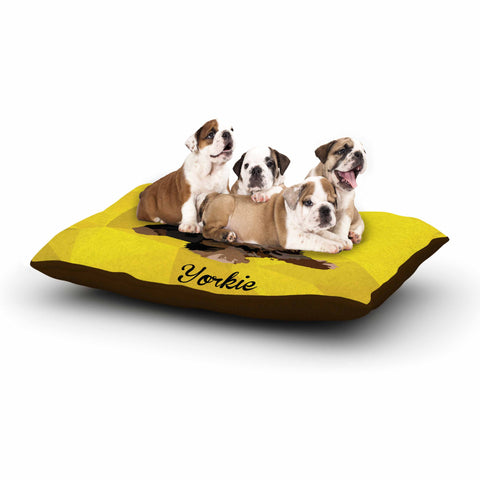 "NL Designs ""Yorkie"" Yellow Brown Animals Digital Illustration Dog Bed"