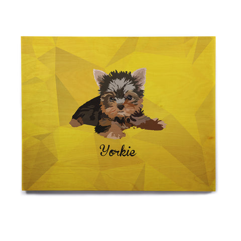 "NL Designs ""Yorkie"" Yellow Brown Animals Digital Illustration Birchwood Wall Art"