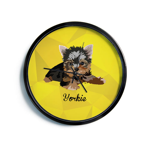 "NL Designs ""Yorkie"" Yellow Brown Animals Digital Illustration Modern Wall Clock"