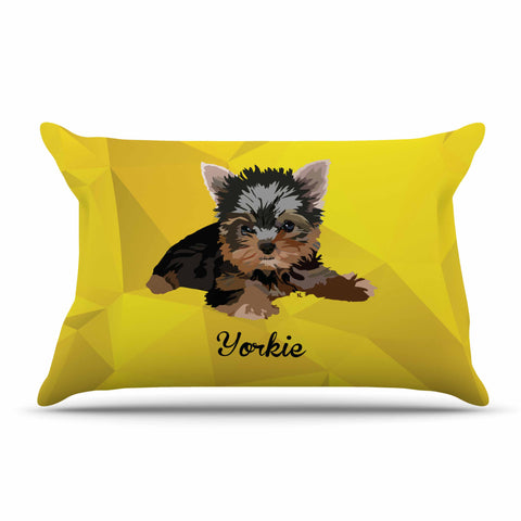 "NL Designs ""Yorkie"" Yellow Brown Animals Digital Illustration Pillow Sham"