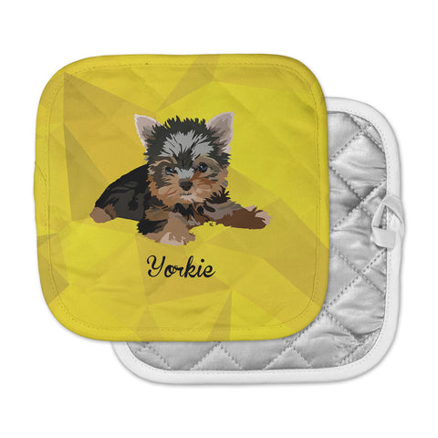 "NL Designs ""Yorkie"" Yellow Brown Animals Digital Illustration Pot Holder"