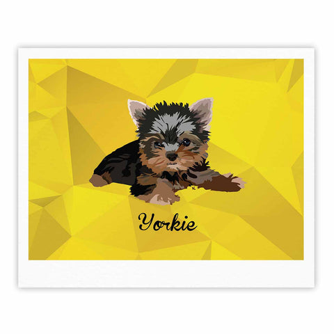 "NL Designs ""Yorkie"" Yellow Brown Animals Digital Illustration Fine Art Gallery Print"
