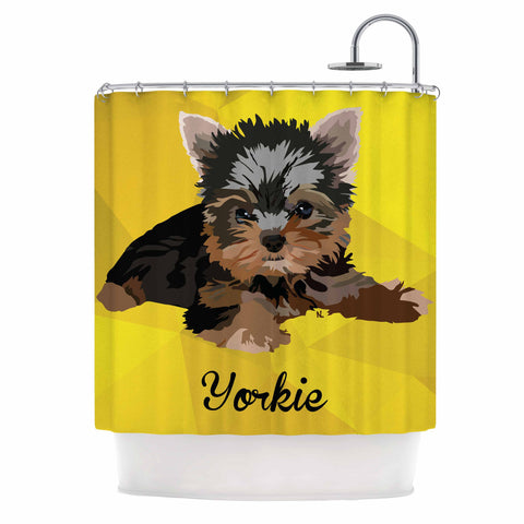 "NL Designs ""Yorkie"" Yellow Brown Animals Digital Illustration Shower Curtain"