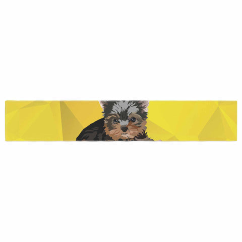 "NL Designs ""Yorkie"" Yellow Brown Animals Digital Illustration Table Runner"