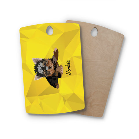 "NL Designs ""Yorkie"" Yellow Brown Animals Digital Illustration Rectangle Wooden Cutting Board"
