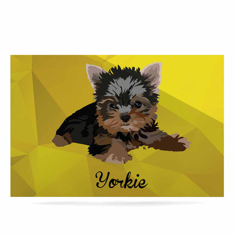 "NL Designs ""Yorkie"" Yellow Brown Animals Digital Illustration Luxe Rectangle Panel"
