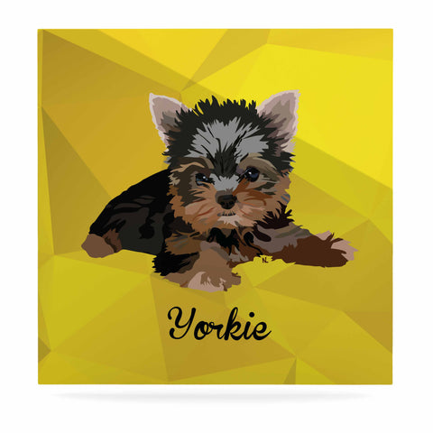 "NL Designs ""Yorkie"" Yellow Brown Animals Digital Illustration Luxe Square Panel"