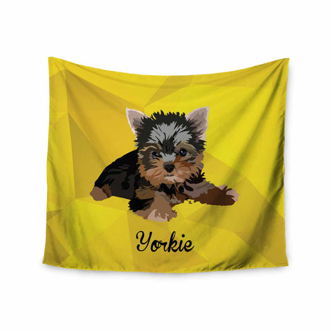 "NL Designs ""Yorkie"" Yellow Brown Animals Digital Illustration Wall Tapestry"