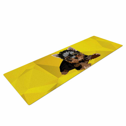 "NL Designs ""Yorkie"" Yellow Brown Animals Digital Illustration Yoga Mat"