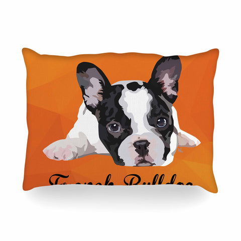 "NL Designs ""French Bulldog"" Orange White Animals Digital Illustration Oblong Pillow"