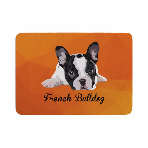 "NL Designs ""French Bulldog"" Orange White Animals Digital Illustration Memory Foam Bath Mat"