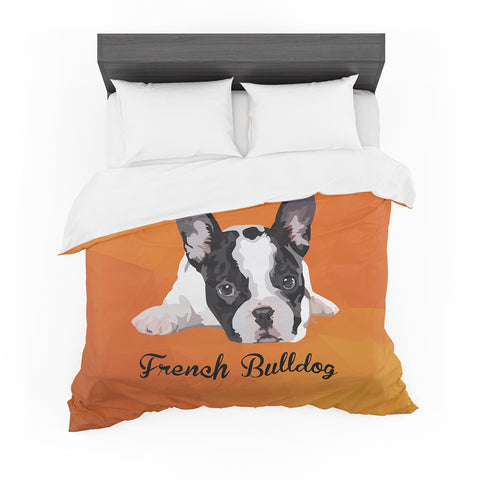 "NL Designs ""French Bulldog"" Orange White Animals Digital Illustration Featherweight Duvet Cover"