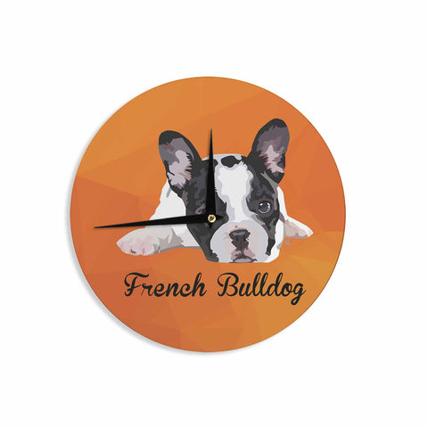 "NL Designs ""French Bulldog"" Orange White Animals Digital Illustration Wall Clock"