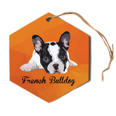 "NL Designs ""French Bulldog"" Orange White Animals Digital Illustration Hexagon Holiday Ornament"