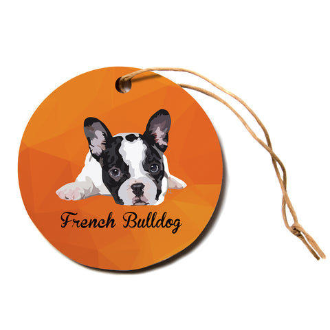 "NL Designs ""French Bulldog"" Orange White Animals Digital Illustration Circle Holiday Ornament"