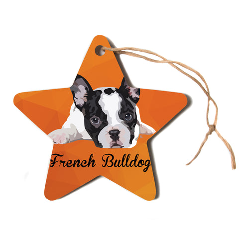 "NL Designs ""French Bulldog"" Orange White Animals Digital Illustration Star Holiday Ornament"