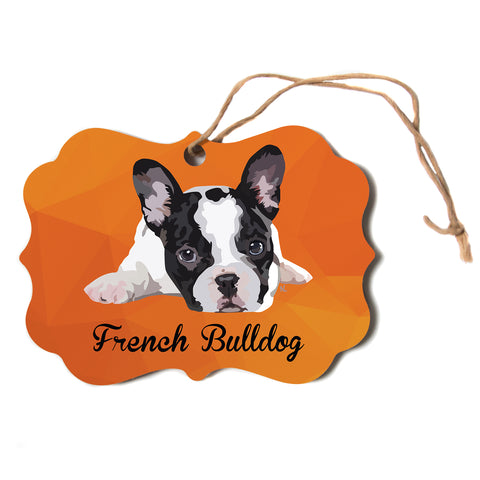 "NL Designs ""French Bulldog"" Orange White Animals Digital Illustration Scroll Holiday Ornament"