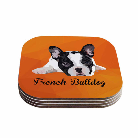 "NL Designs ""French Bulldog"" Orange White Animals Digital Illustration Coasters (Set of 4)"