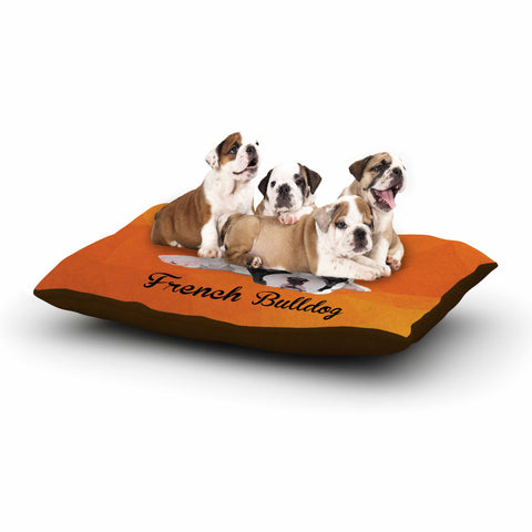 "NL Designs ""French Bulldog"" Orange White Animals Digital Illustration Dog Bed"