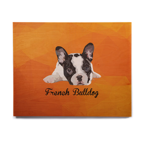 "NL Designs ""French Bulldog"" Orange White Animals Digital Illustration Birchwood Wall Art"